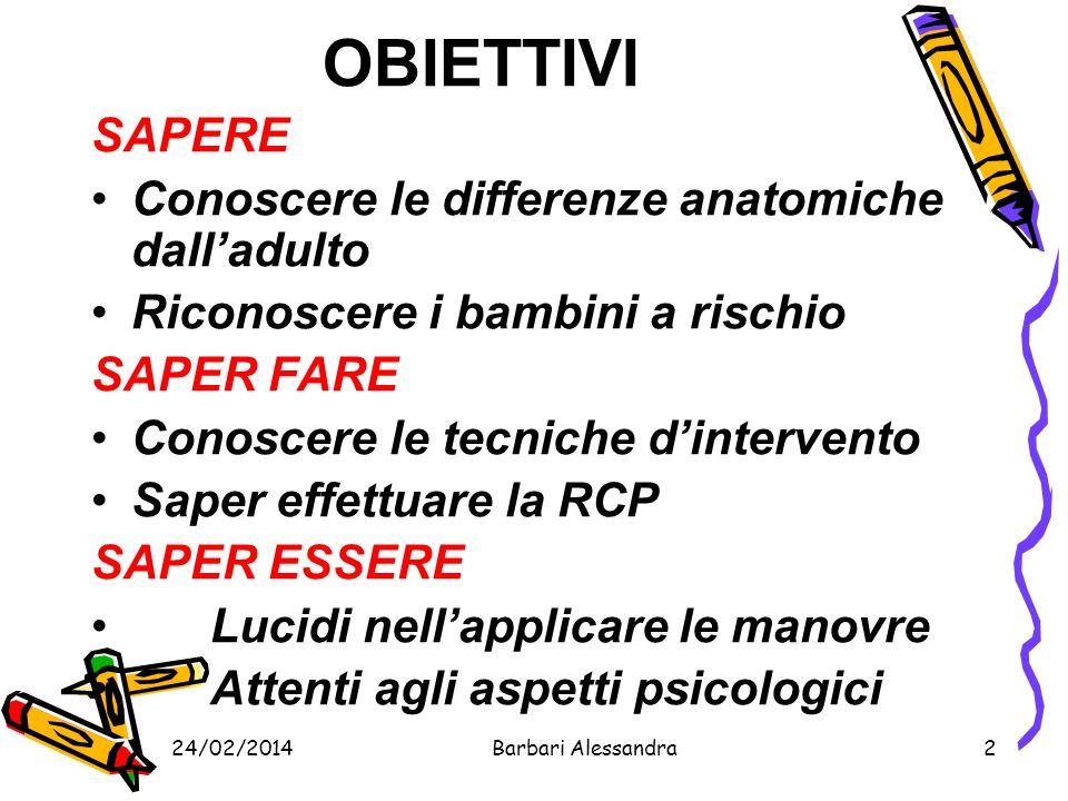 24/02/2014Barbari Alessandra3 DIFFERENZE COLLADULTO Dimensioni Anatomia e fisiologia Psicologia Rapidità di evoluzione dei quadri clinici