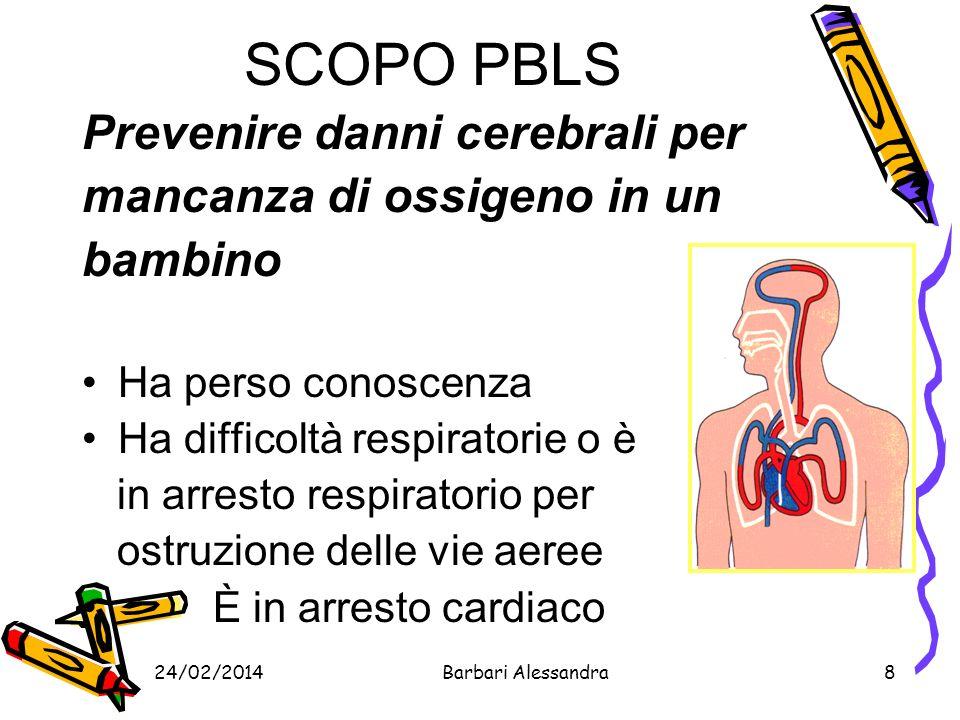 24/02/2014Barbari Alessandra9 CAUSE DI ARRESTO CARDIO-RESPIRATORIO Patologia respiratoria (trauma, ostruzione, polmonite) Convulsioni Intossicazioni Perdite di liquidi