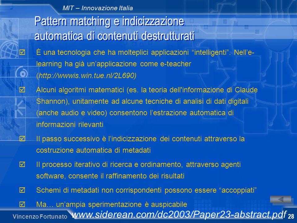 MIT – Innovazione Italia Vincenzo Fortunato 28 Pattern matching e indicizzazione automatica di contenuti destrutturati È una tecnologia che ha molteplici applicazioni intelligenti.