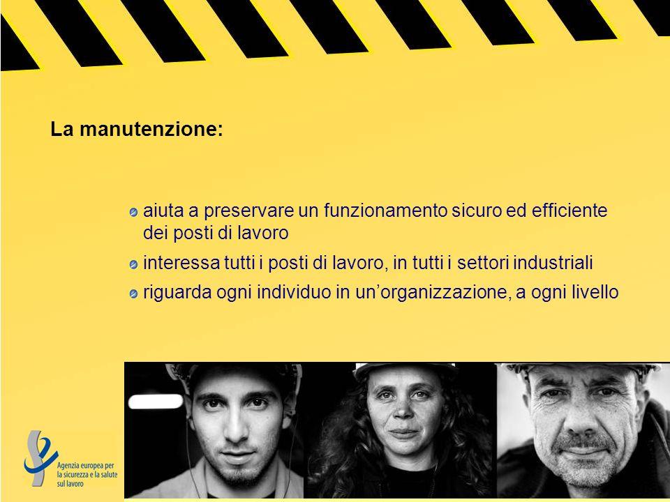 La manutenzione: aiuta a preservare un funzionamento sicuro ed efficiente dei posti di lavoro interessa tutti i posti di lavoro, in tutti i settori industriali riguarda ogni individuo in unorganizzazione, a ogni livello