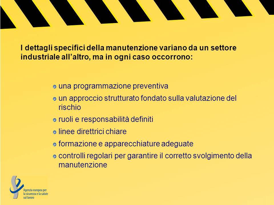 Le cinque regole di base per una manutenzione sicura: La prima, pianificare: raccogliere informazioni garantire che gli addetti alla manutenzione abbiano le competenze per eseguirla specificare chiaramente chi sono i responsabili valutare i rischi in questione
