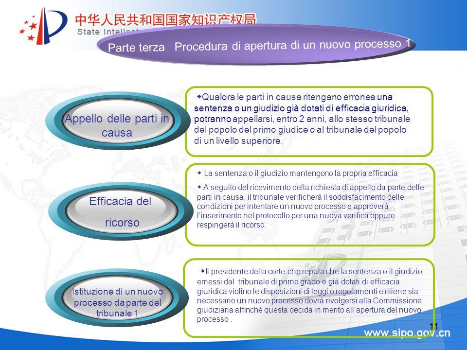 11 La sentenza o il giudizio mantengono la propria efficacia A seguito del ricevimento della richiesta di appello da parte delle parti in causa, il tr