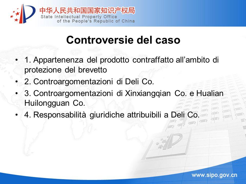 Controversie del caso 1. Appartenenza del prodotto contraffatto allambito di protezione del brevetto 2. Controargomentazioni di Deli Co. 3. Controargo