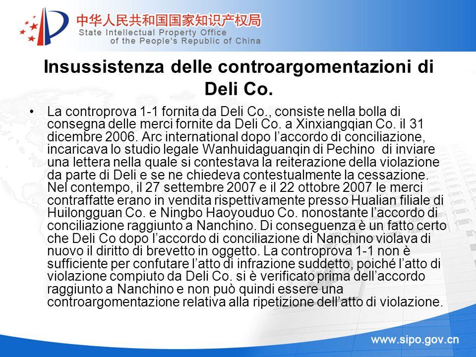 Insussistenza delle controargomentazioni di Deli Co. La controprova 1-1 fornita da Deli Co., consiste nella bolla di consegna delle merci fornite da D
