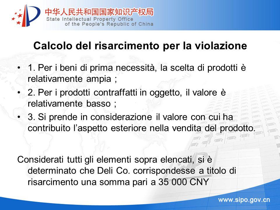 Calcolo del risarcimento per la violazione 1. Per i beni di prima necessità, la scelta di prodotti è relativamente ampia 2. Per i prodotti contraffatt