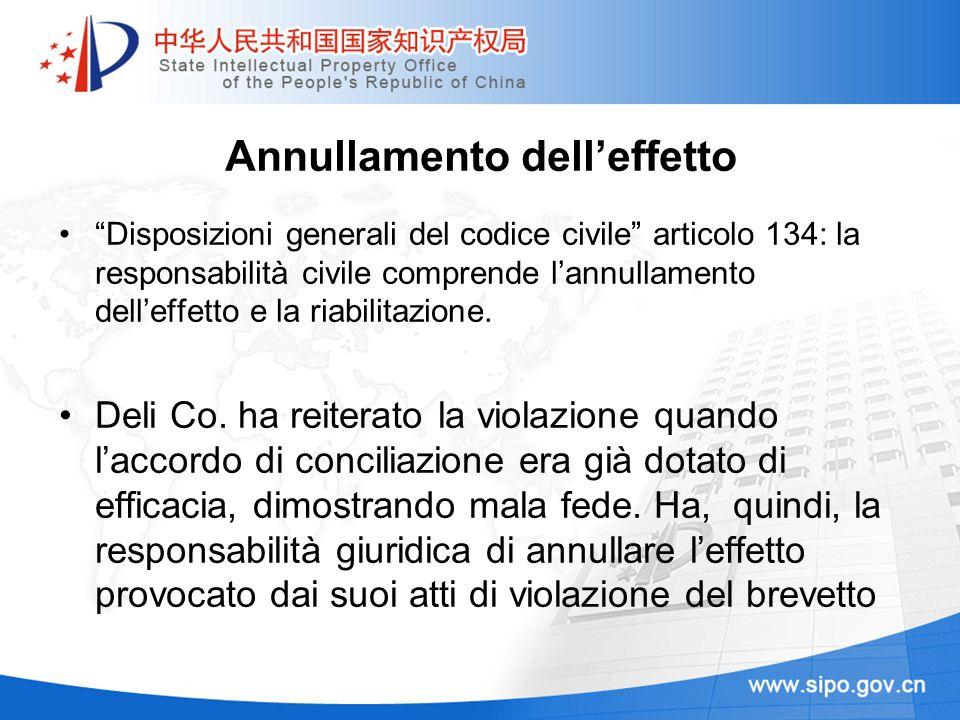 Annullamento delleffetto Disposizioni generali del codice civile articolo 134: la responsabilità civile comprende lannullamento delleffetto e la riabi