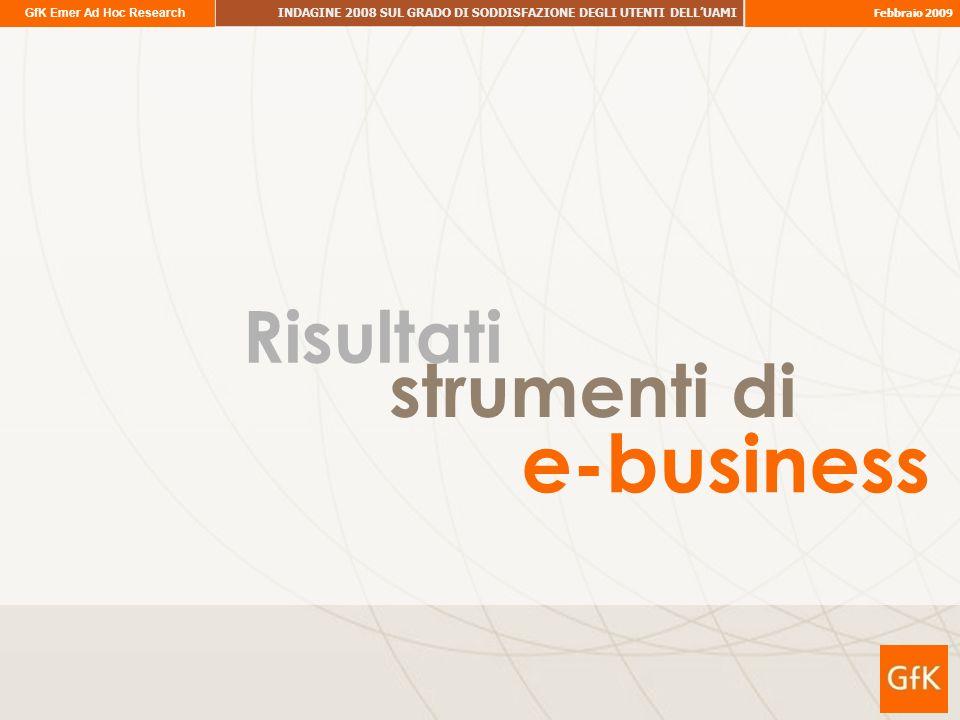 GfK Emer Ad Hoc Research INDAGINE 2008 SUL GRADO DI SODDISFAZIONE DEGLI UTENTI DELLUAMI Febbraio 2009 Risultati e-business strumenti di
