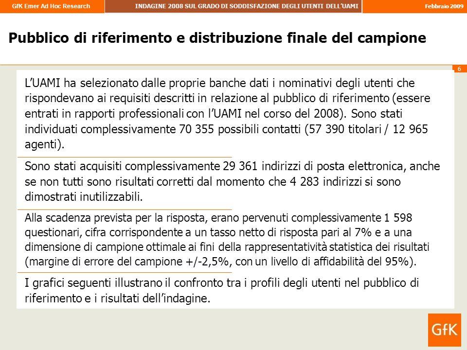 GfK Emer Ad Hoc Research INDAGINE 2008 SUL GRADO DI SODDISFAZIONE DEGLI UTENTI DELLUAMI Febbraio 2009 6 Pubblico di riferimento e distribuzione finale