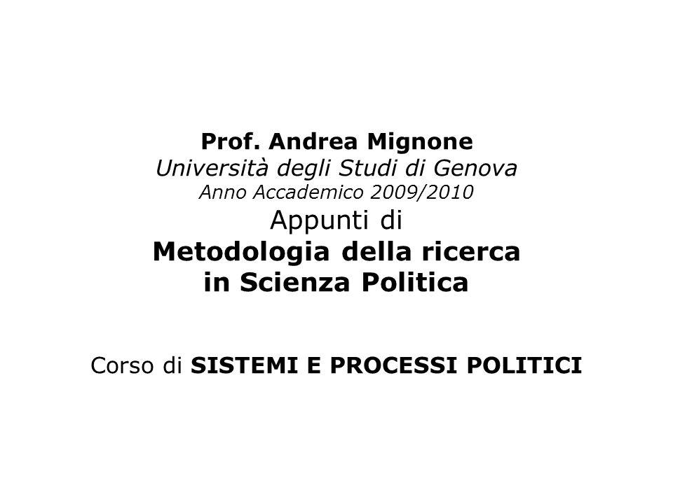 Prof. Andrea Mignone Università degli Studi di Genova Anno Accademico 2009/2010 Appunti di Metodologia della ricerca in Scienza Politica Corso di SIST