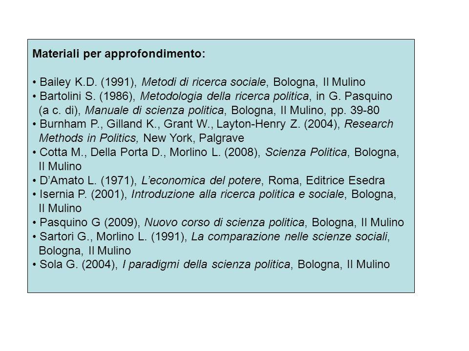 Materiali per approfondimento: Bailey K.D. (1991), Metodi di ricerca sociale, Bologna, Il Mulino Bartolini S. (1986), Metodologia della ricerca politi