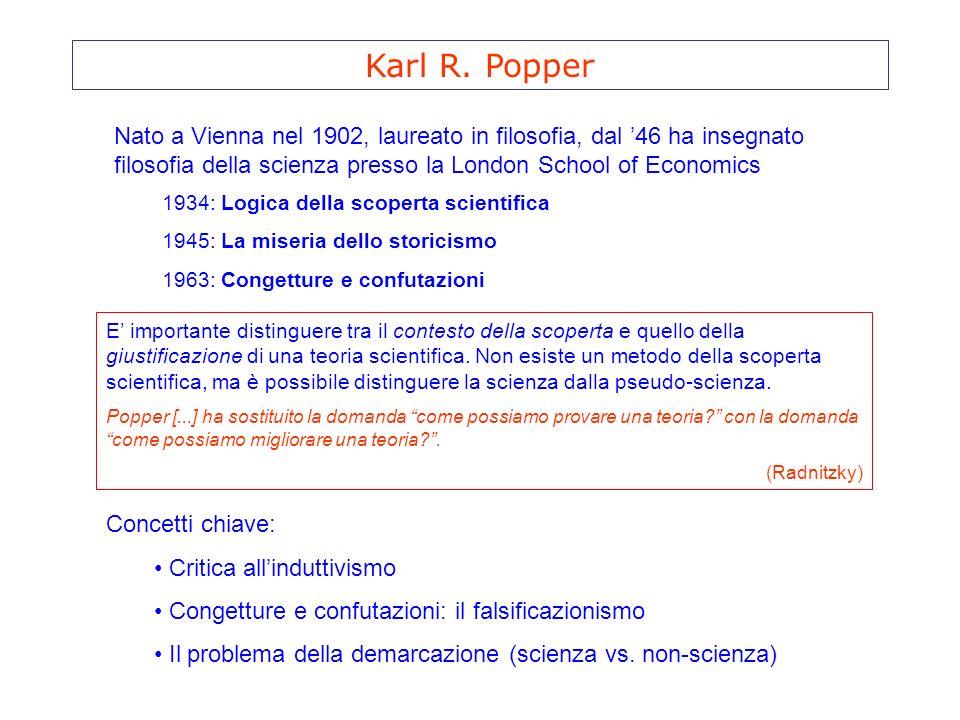 Karl R. Popper Nato a Vienna nel 1902, laureato in filosofia, dal 46 ha insegnato filosofia della scienza presso la London School of Economics 1934: L