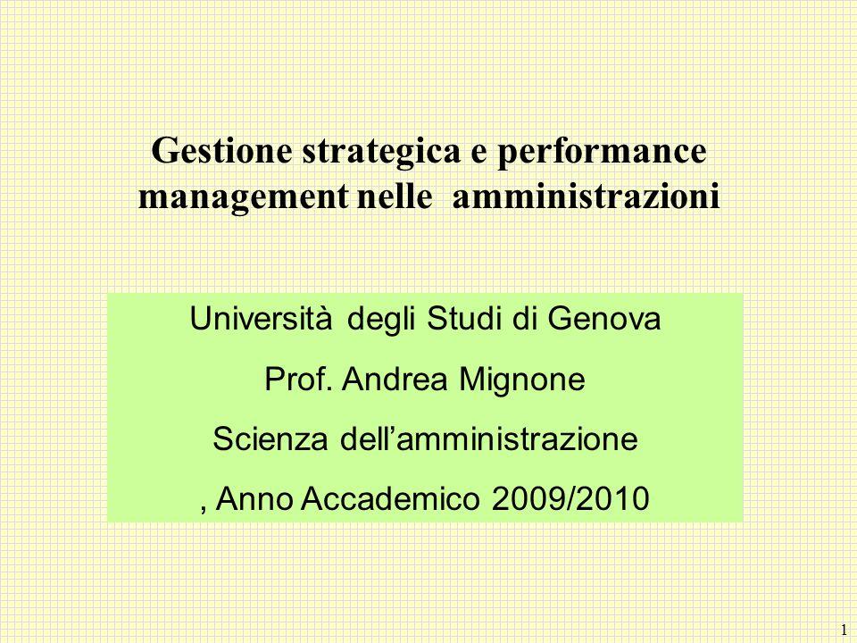 1 Gestione strategica e performance management nelle amministrazioni Università degli Studi di Genova Prof. Andrea Mignone Scienza dellamministrazione