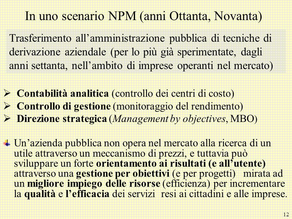 12 In uno scenario NPM (anni Ottanta, Novanta) Contabilità analitica (controllo dei centri di costo) Controllo di gestione (monitoraggio del rendiment