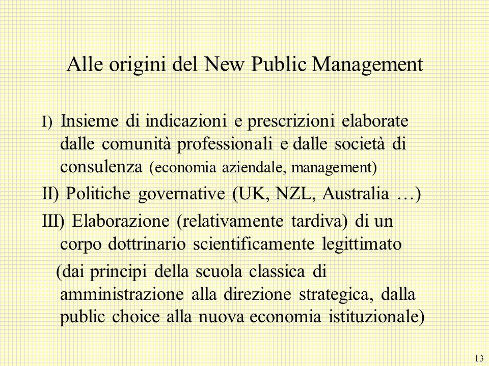 13 Alle origini del New Public Management I) Insieme di indicazioni e prescrizioni elaborate dalle comunità professionali e dalle società di consulenz