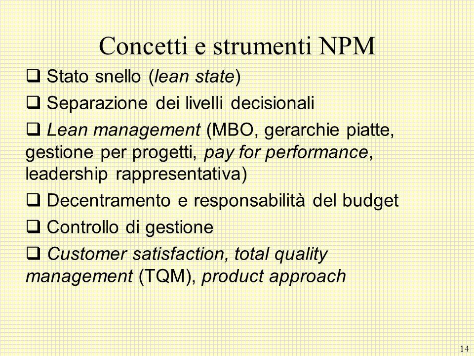 14 Concetti e strumenti NPM Stato snello (lean state) Separazione dei livelli decisionali Lean management (MBO, gerarchie piatte, gestione per progett