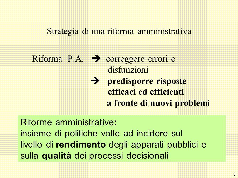 2 Strategia di una riforma amministrativa Riforma P.A. correggere errori e disfunzioni predisporre risposte efficaci ed efficienti a fronte di nuovi p