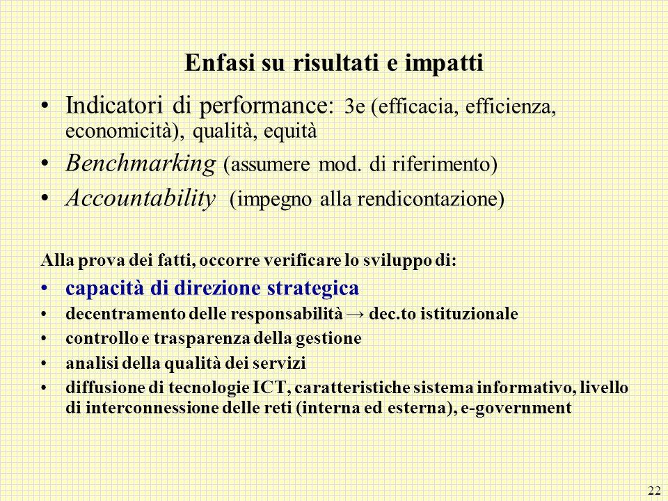 22 Enfasi su risultati e impatti Indicatori di performance: 3e (efficacia, efficienza, economicità), qualità, equità Benchmarking (assumere mod. di ri