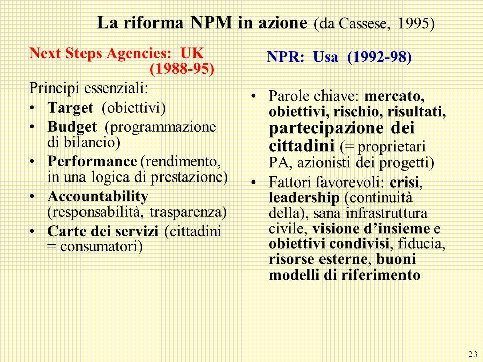 23 La riforma NPM in azione (da Cassese, 1995) Next Steps Agencies: UK (1988-95) Principi essenziali: Target (obiettivi) Budget (programmazione di bil