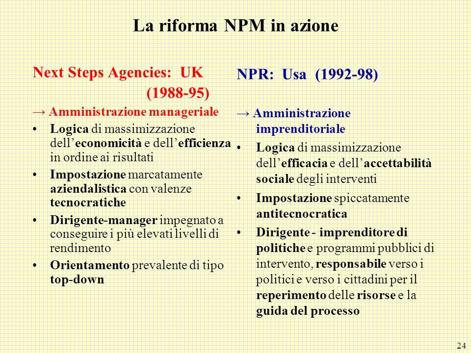 24 La riforma NPM in azione Next Steps Agencies: UK (1988-95) Amministrazione manageriale Logica di massimizzazione delleconomicità e dellefficienza i
