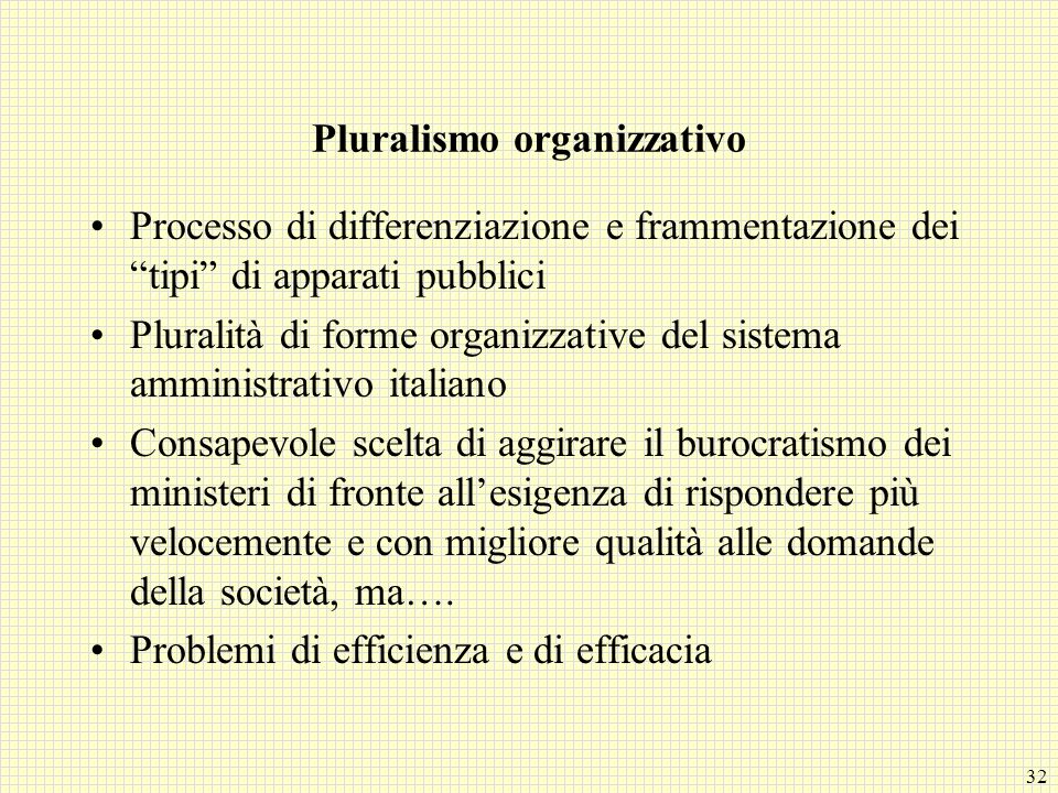 32 Pluralismo organizzativo Processo di differenziazione e frammentazione dei tipi di apparati pubblici Pluralità di forme organizzative del sistema a