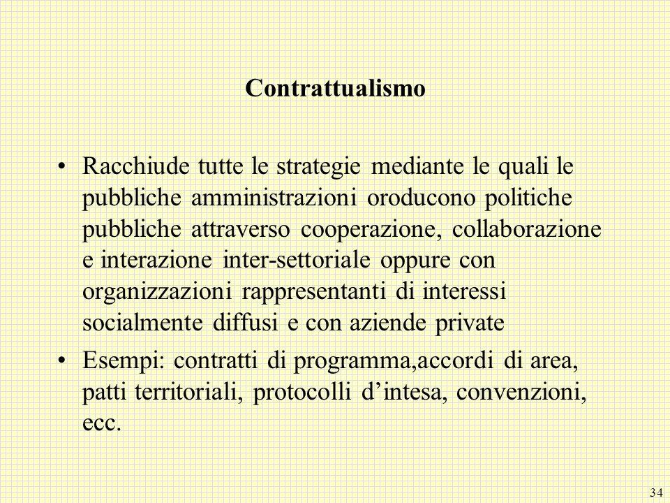 34 Contrattualismo Racchiude tutte le strategie mediante le quali le pubbliche amministrazioni oroducono politiche pubbliche attraverso cooperazione,