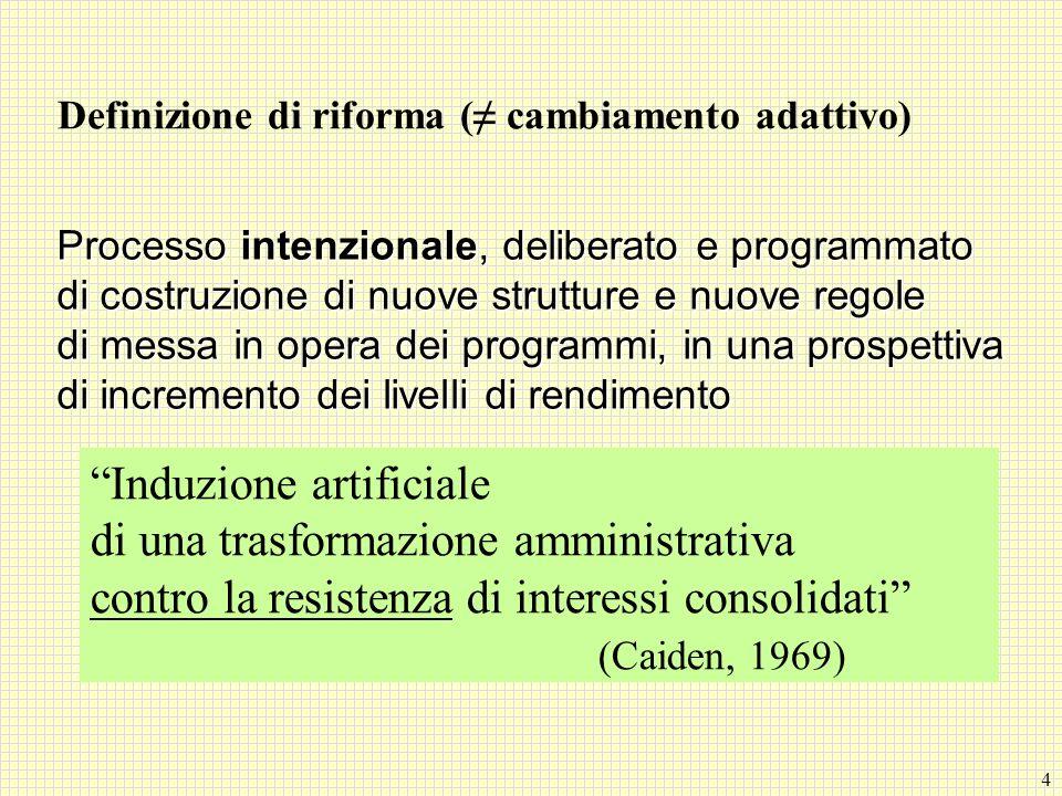 4 Definizione di riforma ( cambiamento adattivo) Processo intenzionale, deliberato e programmato di costruzione di nuove strutture e nuove regole di m