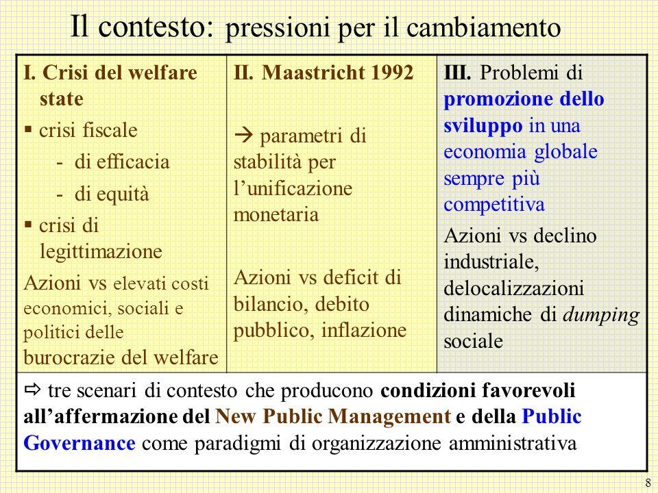 8 Il contesto: pressioni per il cambiamento I. Crisi del welfare state crisi fiscale - di efficacia - di equità crisi di legittimazione Azioni vs elev