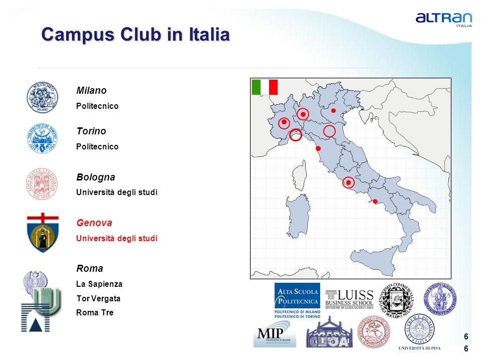 6 6 Campus Club in Italia Milano Politecnico Torino Politecnico Bologna Università degli studi Genova Università degli studi Roma La Sapienza Tor Verg