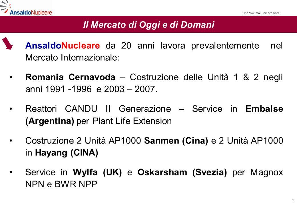 3 Il Mercato di Oggi e di Domani AnsaldoNucleare da 20 anni lavora prevalentemente nel Mercato Internazionale: Romania Cernavoda – Costruzione delle Unità 1 & 2 negli anni 1991 -1996 e 2003 – 2007.