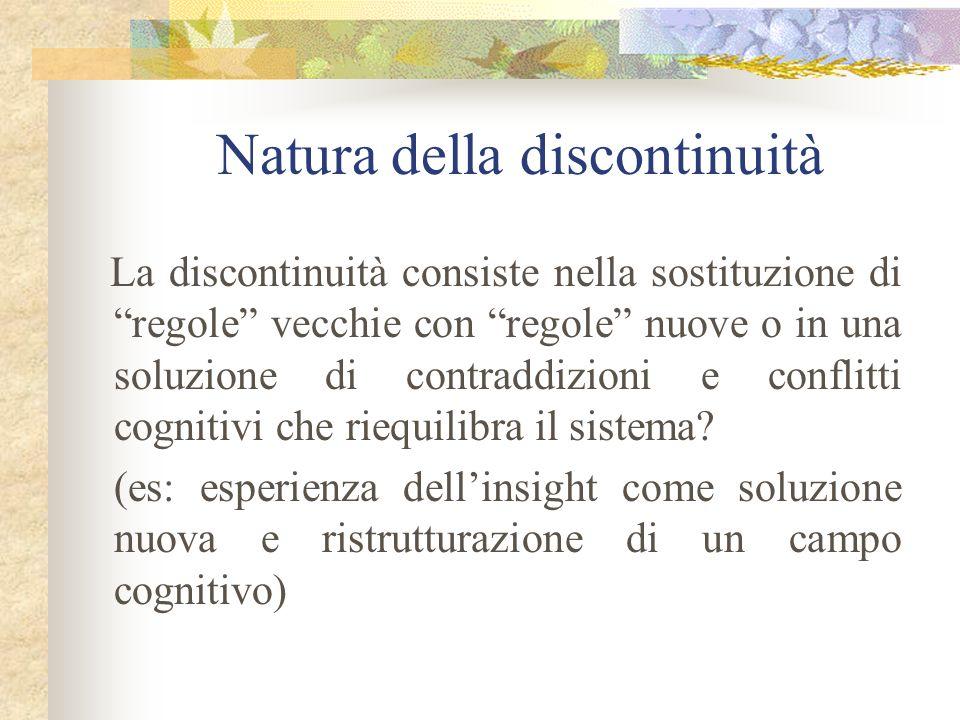 Natura della discontinuità La discontinuità consiste nella sostituzione di regole vecchie con regole nuove o in una soluzione di contraddizioni e conf