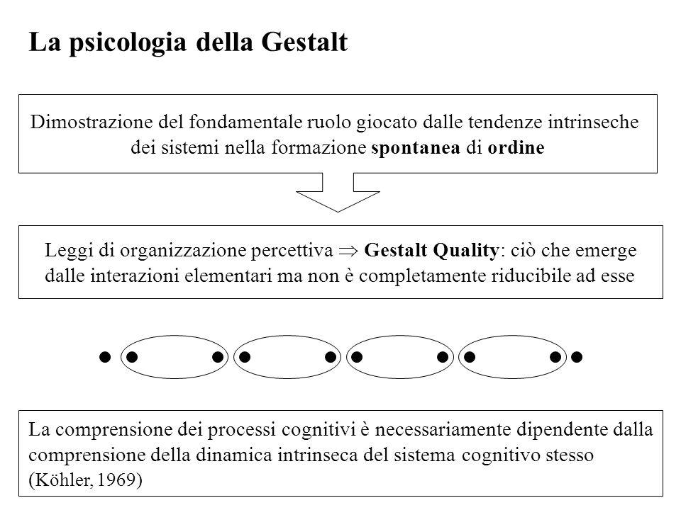 Leggi di organizzazione percettiva Gestalt Quality: ciò che emerge dalle interazioni elementari ma non è completamente riducibile ad esse La psicologi