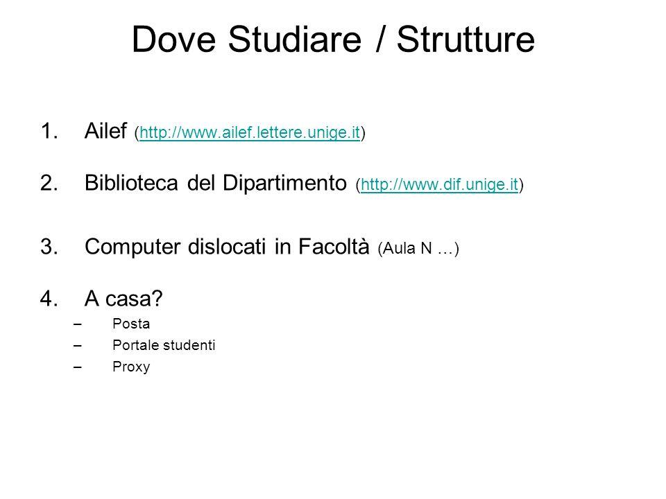 Dove Studiare / Strutture 1.Ailef (http://www.ailef.lettere.unige.it)http://www.ailef.lettere.unige.it 2.Biblioteca del Dipartimento (http://www.dif.u