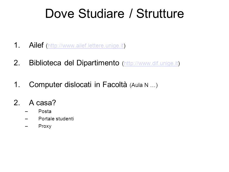 Dove Studiare / Strutture 1.Ailef (http://www.ailef.lettere.unige.it)http://www.ailef.lettere.unige.it 2.Biblioteca del Dipartimento (http://www.dif.unige.it)http://www.dif.unige.it 1.Computer dislocati in Facoltà (Aula N …) 2.A casa.