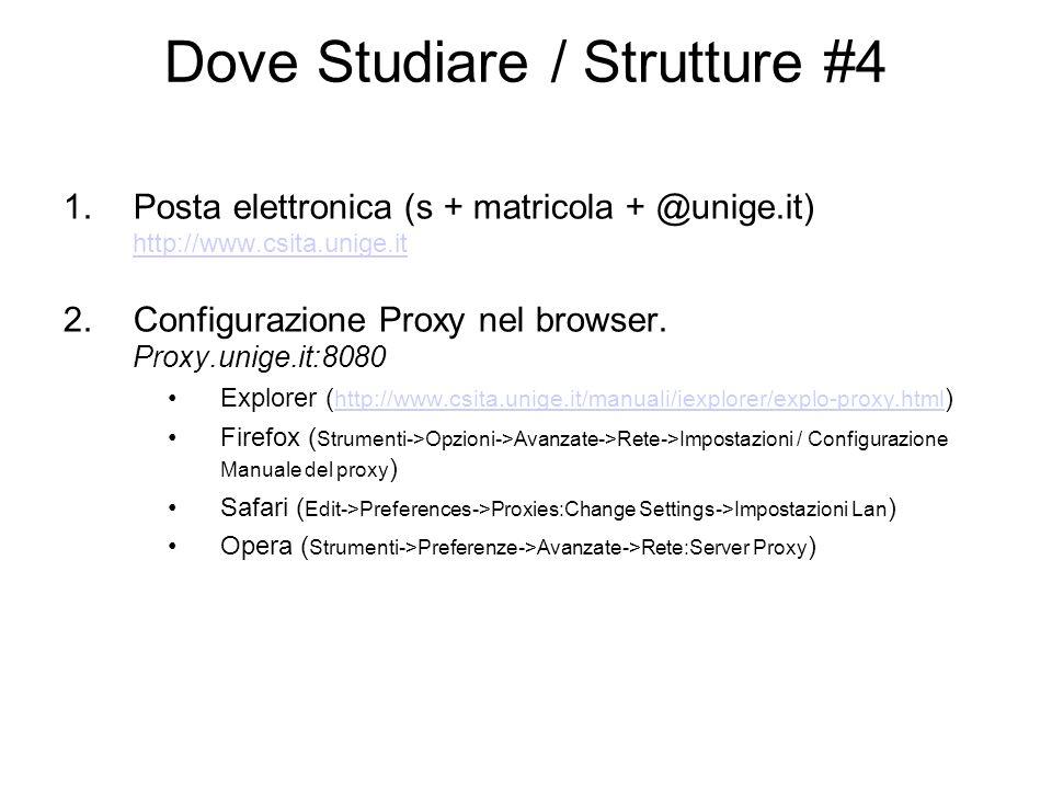 Dove Studiare / Strutture #4 1.Posta elettronica (s + matricola + @unige.it) http://www.csita.unige.it http://www.csita.unige.it 2.Configurazione Proxy nel browser.
