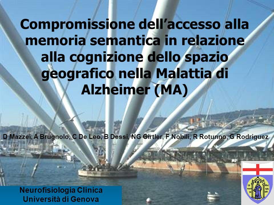 Compromissione dellaccesso alla memoria semantica in relazione alla cognizione dello spazio geografico nella Malattia di Alzheimer (MA) Neurofisiologi
