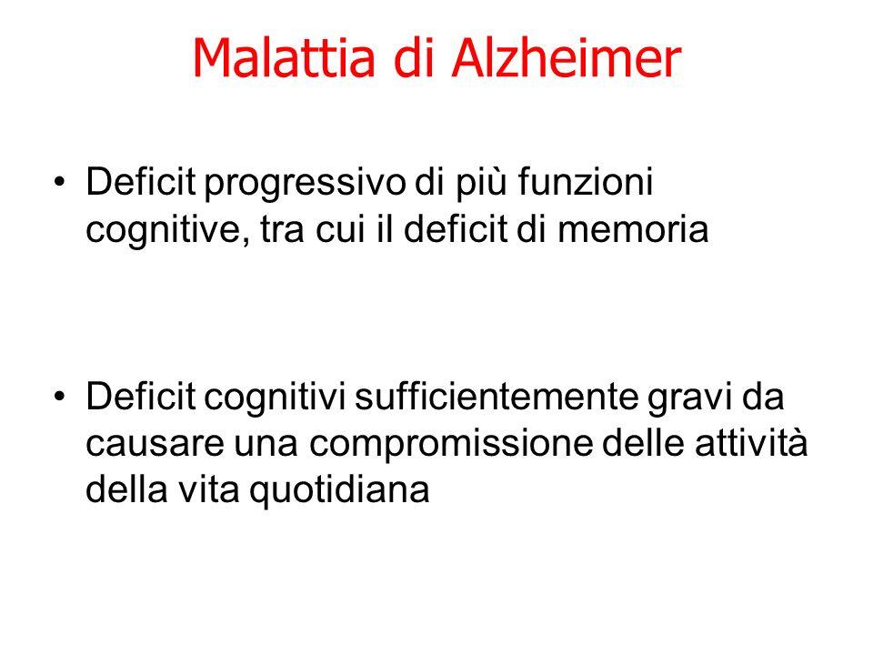 Malattia di Alzheimer Deficit progressivo di più funzioni cognitive, tra cui il deficit di memoria Deficit cognitivi sufficientemente gravi da causare