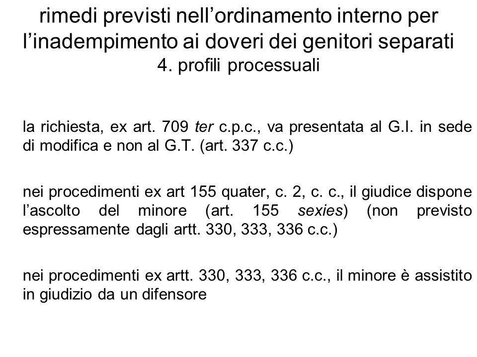 rimedi previsti nellordinamento interno per linadempimento ai doveri dei genitori separati 4. profili processuali la richiesta, ex art. 709 ter c.p.c.