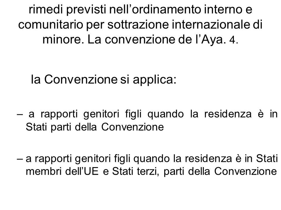 rimedi previsti nellordinamento interno e comunitario per sottrazione internazionale di minore. La convenzione de lAya. 4. la Convenzione si applica: