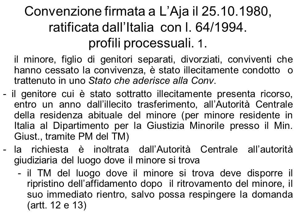 Convenzione firmata a LAja il 25.10.1980, ratificata dallItalia con l. 64/1994. profili processuali. 1. il minore, figlio di genitori separati, divorz