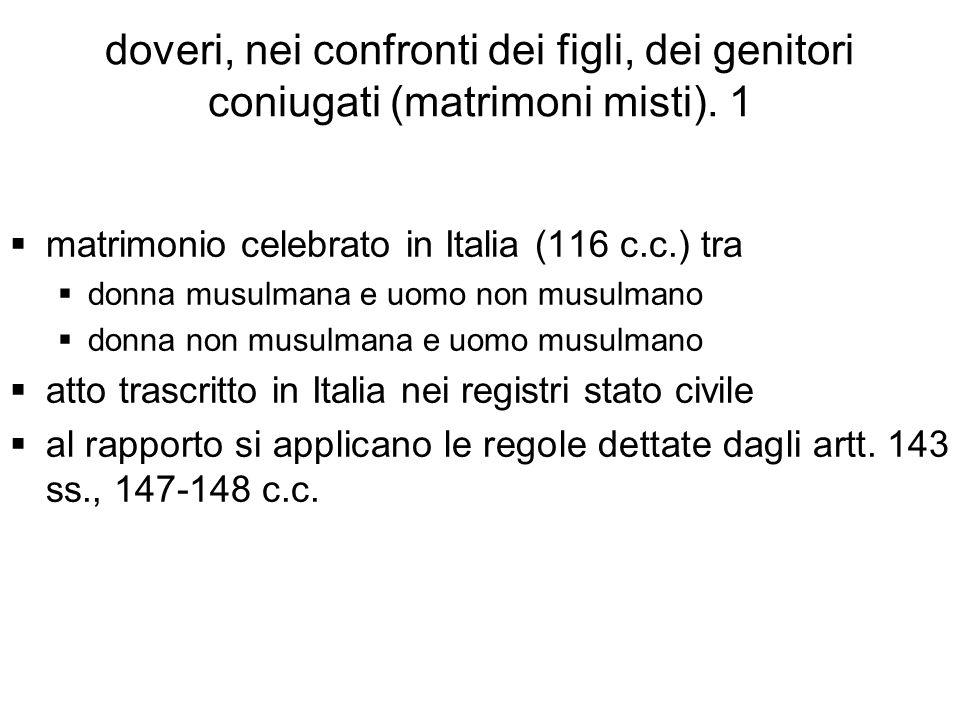 doveri, nei confronti dei figli, dei genitori coniugati (matrimoni misti). 1 matrimonio celebrato in Italia (116 c.c.) tra donna musulmana e uomo non