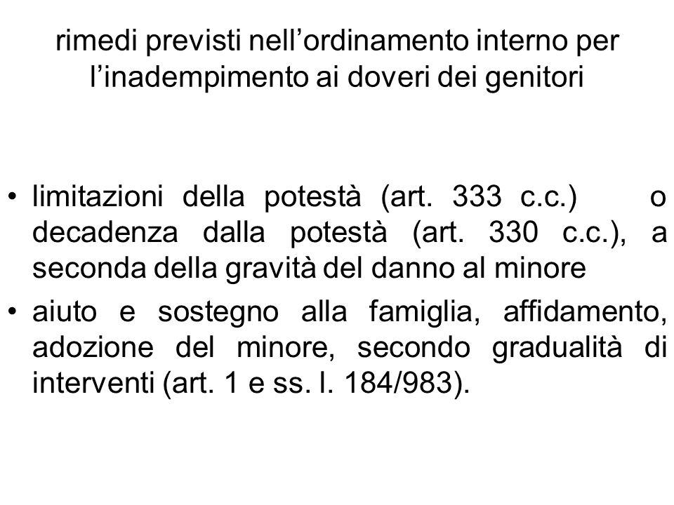 rimedi previsti nellordinamento interno per linadempimento ai doveri dei genitori limitazioni della potestà (art. 333 c.c.) o decadenza dalla potestà