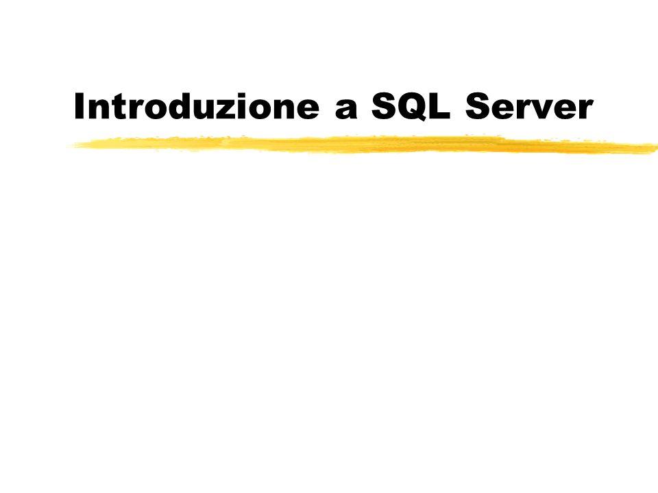 Giorno I zIntroduzione allarchitettura di un DBMS zArchitettura di SQL Server zComponenti di base di un database in SQL Server yDDL da Enterprise Manager yCenni DDL da Query Analyzer zManipolazione di un database in SQL Server yinterrogazioni ymodifiche zesercitazione