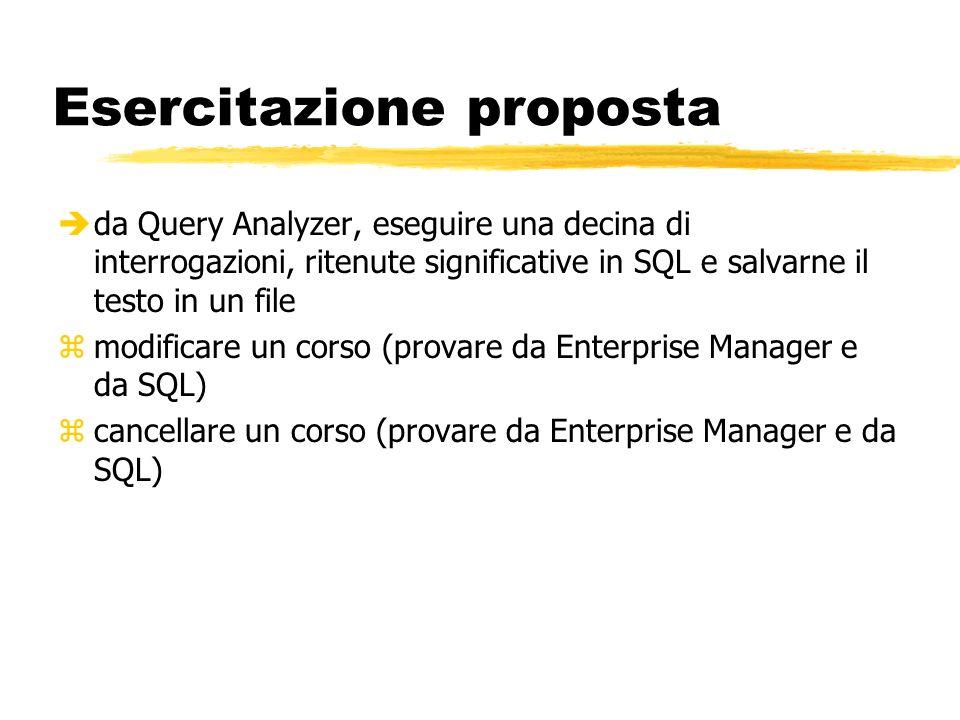 Esercitazione proposta èda Query Analyzer, eseguire una decina di interrogazioni, ritenute significative in SQL e salvarne il testo in un file zmodifi