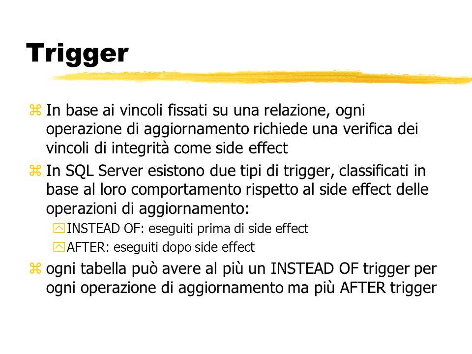 Trigger zIn base ai vincoli fissati su una relazione, ogni operazione di aggiornamento richiede una verifica dei vincoli di integrità come side effect