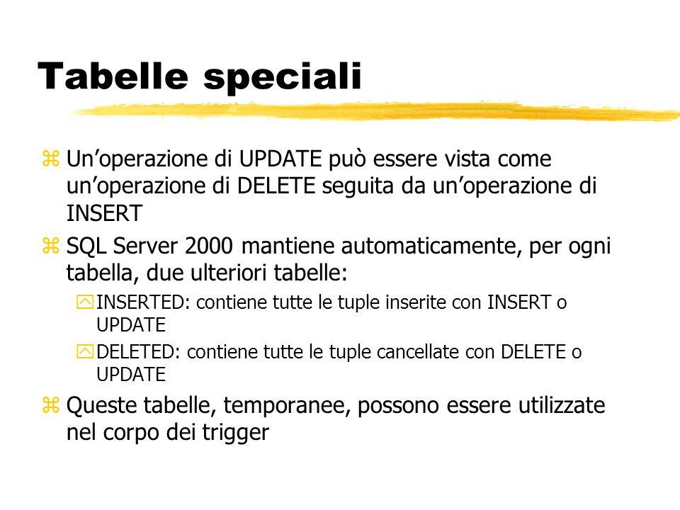 Tabelle speciali zUnoperazione di UPDATE può essere vista come unoperazione di DELETE seguita da unoperazione di INSERT zSQL Server 2000 mantiene auto