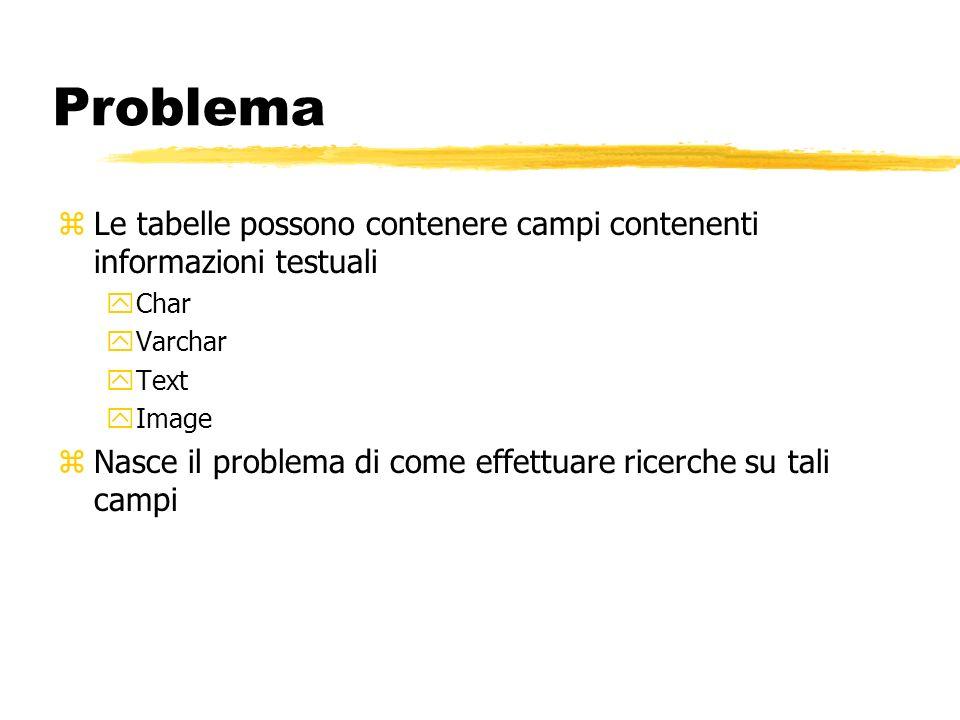 Problema zLe tabelle possono contenere campi contenenti informazioni testuali yChar yVarchar yText yImage zNasce il problema di come effettuare ricerc