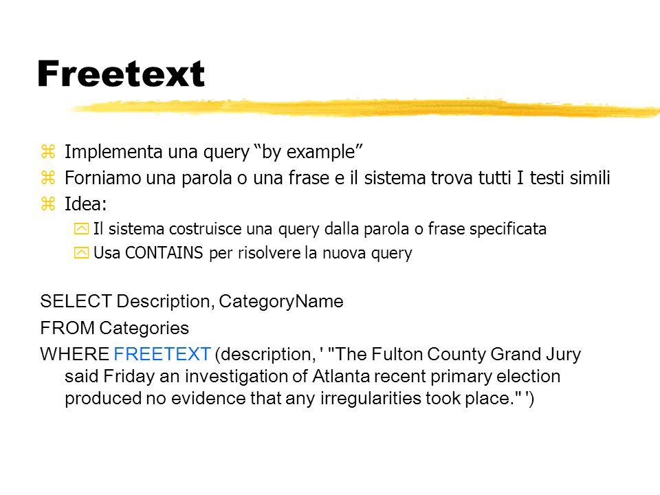 Freetext zImplementa una query by example zForniamo una parola o una frase e il sistema trova tutti I testi simili zIdea: yIl sistema costruisce una q