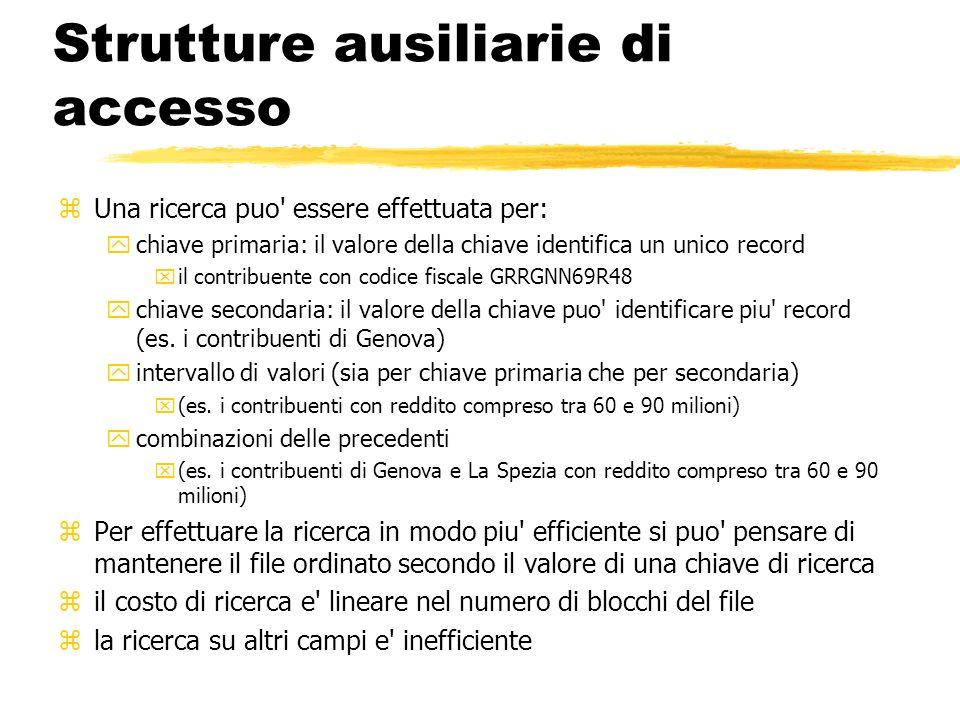 Strutture ausiliarie di accesso zUna ricerca puo' essere effettuata per: ychiave primaria: il valore della chiave identifica un unico record xil contr