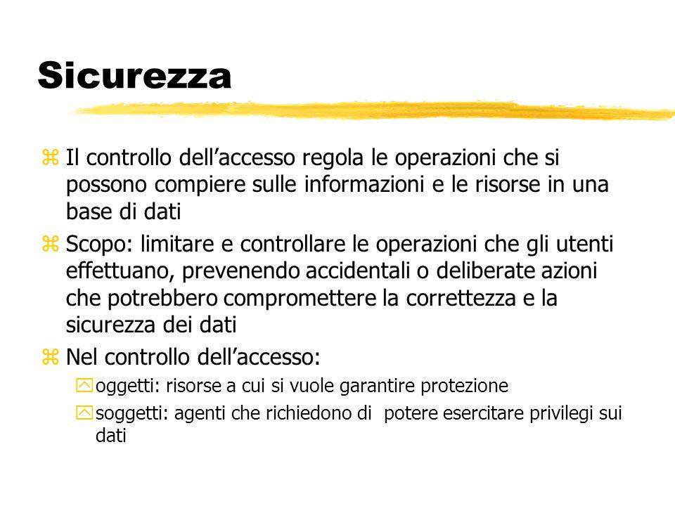 Sicurezza zIl controllo dellaccesso regola le operazioni che si possono compiere sulle informazioni e le risorse in una base di dati zScopo: limitare