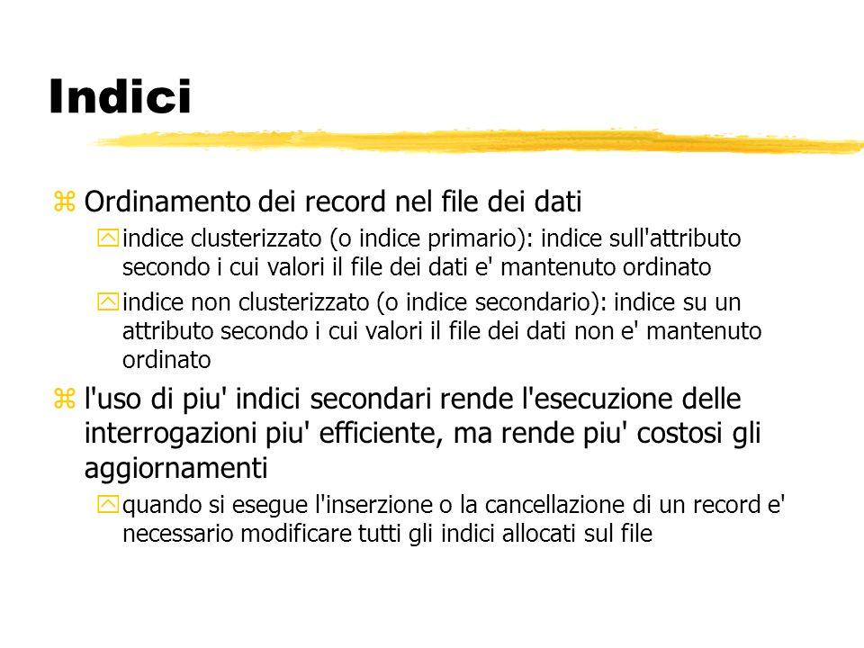 zOrdinamento dei record nel file dei dati yindice clusterizzato (o indice primario): indice sull'attributo secondo i cui valori il file dei dati e' ma
